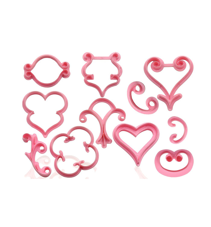 12Pcs Heart Lace Sugar Craft Cake Fondant Cutter Embossed Mould