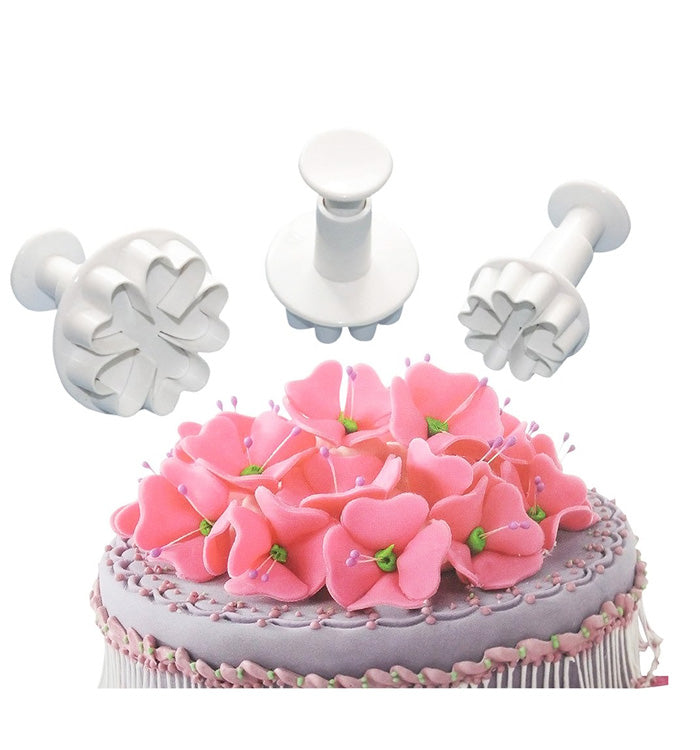 3Pcs Five Heart Flower Cake Fondant Cookie Plunger Cutter Mould
