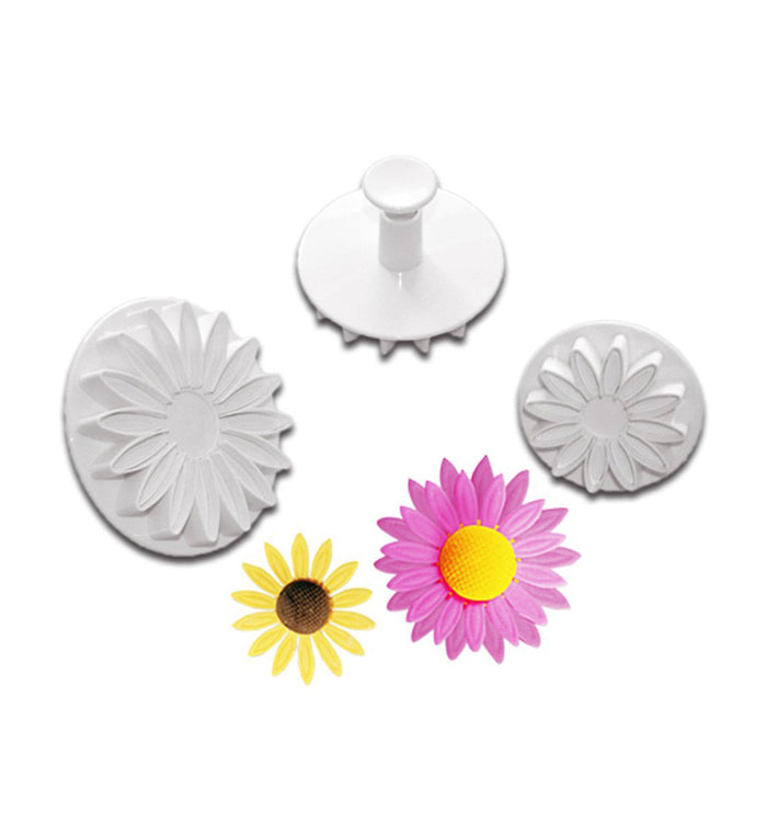 3pcs Sunflower Fondant Plunger Cutter Sugarcraft  Mould Cake Decorating Tool