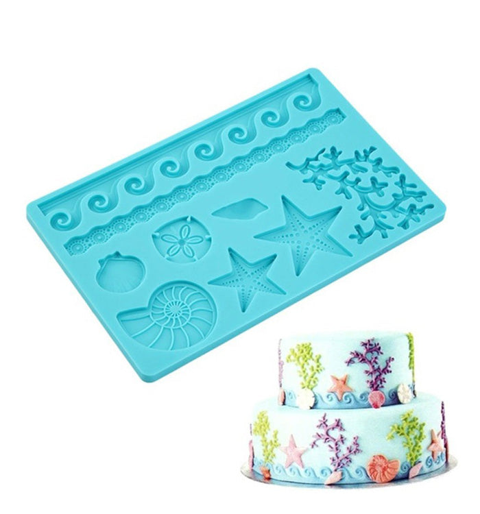 Sea Life Shell Lace Silicone Fondant Mat Mould Baking Sugar Craft Cake Decoration
