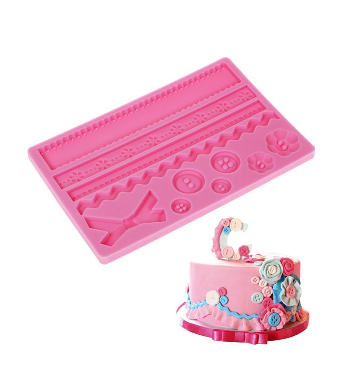 Button Lace Silicone Fondant Mat Mould Baking Sugar Craft Cake Decoration