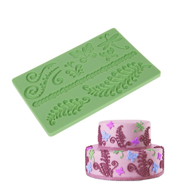Fern Butterfly Lace Silicone Fondant Mat Embossing Mould Cake Decoration