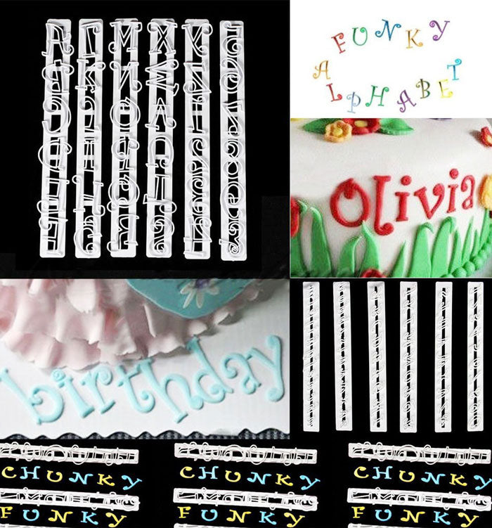 6pcs Alphabet Number Letter Fondant Cake Frill Edge Sugarcraft Cutter Mould Tool