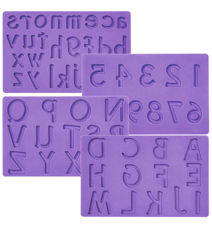 4Pcs Number Alphabet Letters Silicone Fondant Mat Mould Cake Decoration