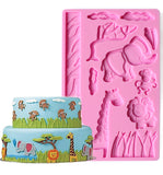 3D Zoo Jungle Animals Silicone Fondant Mat Embossing Mould Cake Decoration