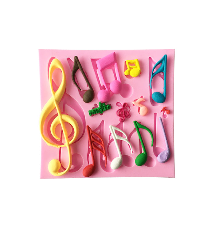 Musical Notes 13 Cavity Silicone Mould for Fondant, Gum Paste, Chocolate