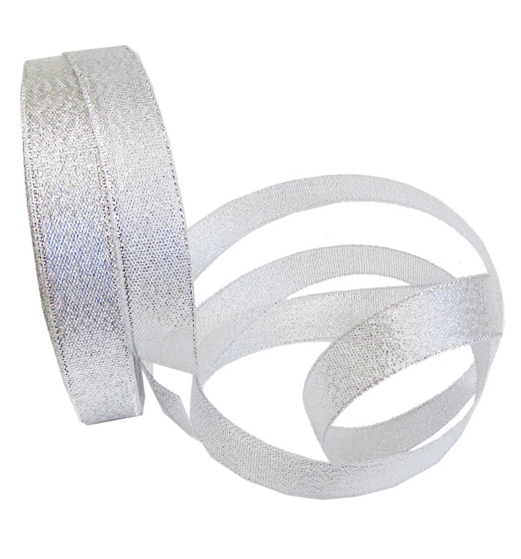 22M× 2CM Silver Glitter Metallic Sparkle Fabric Decorative Ribbon for Gift Wrapping