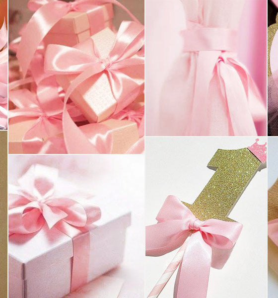22M× 2CM Double Faced Satin Solid Fabric Ribbon For Gift Wrapping, Pink