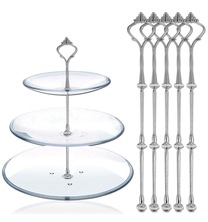 3 Tier Silver Crown Cake Stand Fruit Cake Plate Handle Fitting Stand Holder