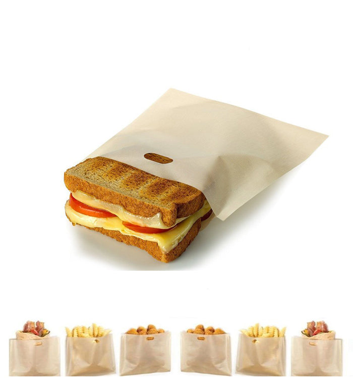 6Pcs Non-stick Reusable Toaster Sandwish Bags Microwave Heating Tools