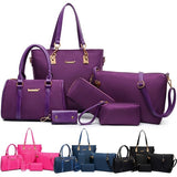 6 Pcs Women Ladies Handbag Set Totes Crossbody Shoulder Bags and Purse Clutch