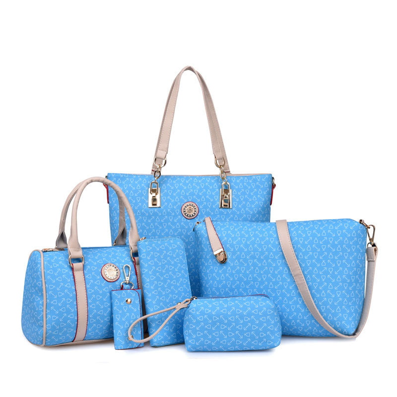 6 Pcs Women Ladies Shoulder Bags Top-Handle Handbag Tote Purse Set