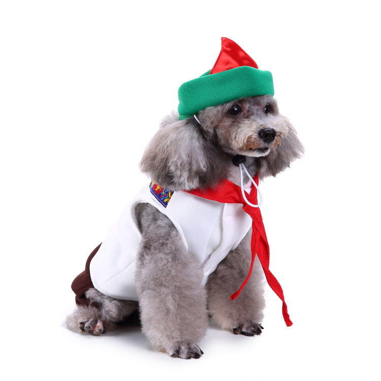 Christmas/Halloween Waiter Dog Puppy Costume Pet Supplies (With Hat)