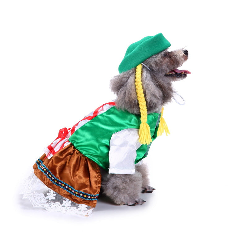 Christmas/Halloween Waitress Dog Puppy Costome Pet Supplies (With Hat)