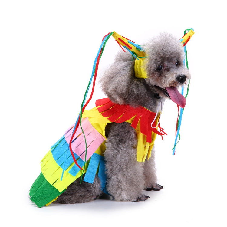 Christmas/Halloween Colorful Clown Dog Puppy Costume Pet Suit (With Hat)