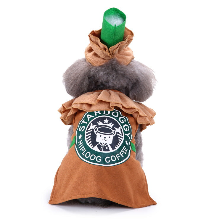 Christmas/Halloween Coffee Pet Dog Puppy Costume Pet Supplies (With Hat)