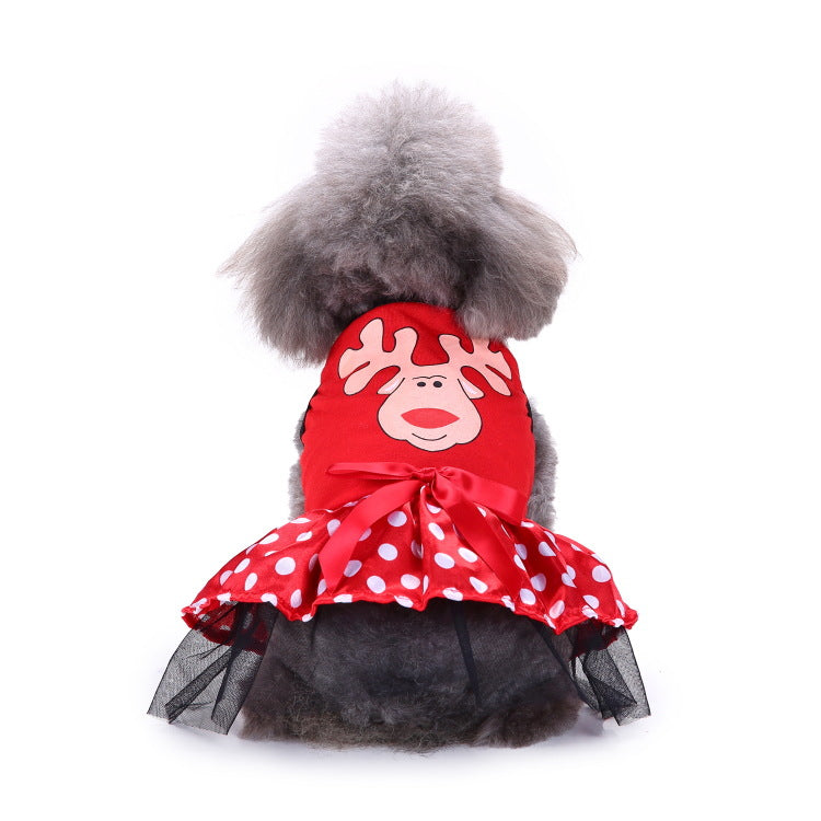 Christmas Elk Tutu Dress Pet Dog Puppy Costume Pet Supplies