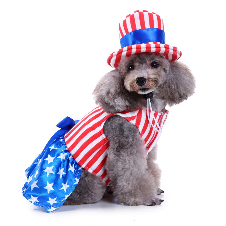 Stars And Stripes Tutu Dress Pet Dog Puppy Costume With Hat