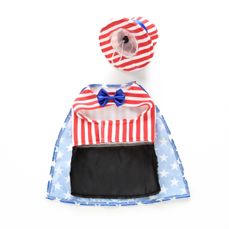 Stars And Stripes Gentleman Cloak Pet Dog Puppy Costume With Hat