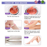Purple Wax Warmer Hair Removal Kit with 5 pack Hard Wax Beans and 10 Wax Applicator Sticks