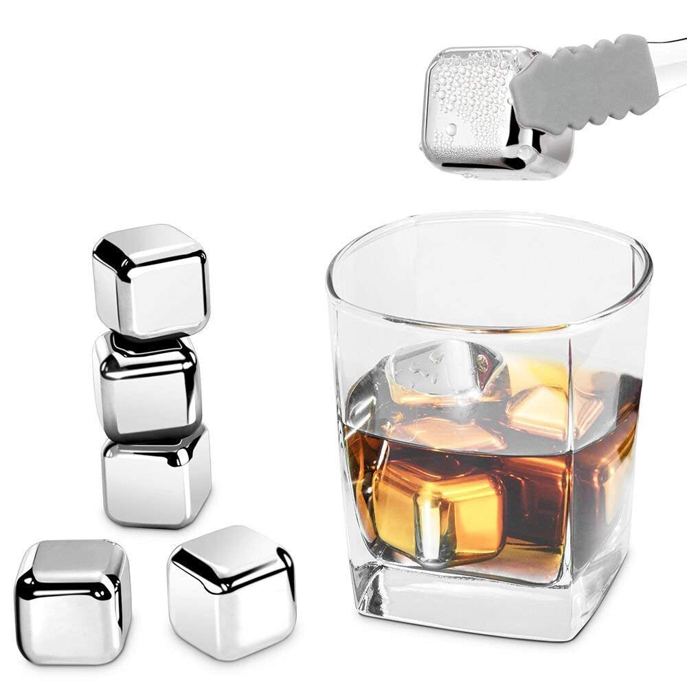 4 PCS Reusable Ice Cubes Stainless Steel Whiskey Stones for Non-diluting Cooling Vodka, Whiskey, Beer