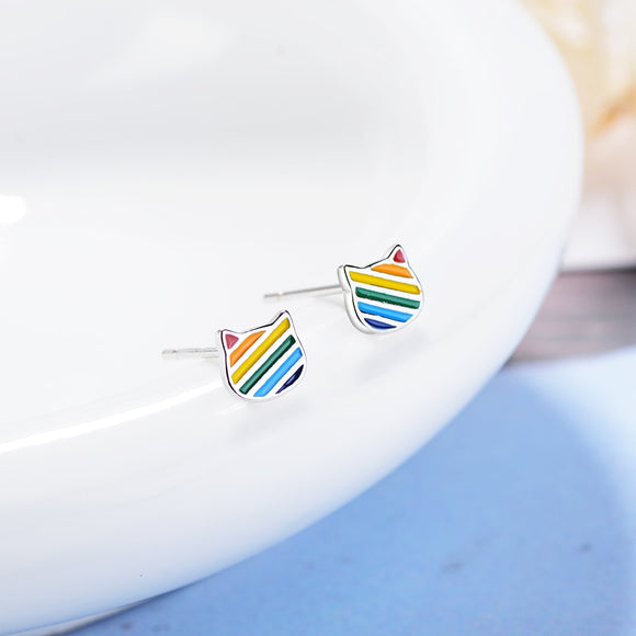 Trendy Rainbow Cat Earrings 925 Sterling Silver