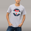 MEN'S SSL T-SHIRT WITH CLASSIC LOGO - 084 LT HTR GREY/BLUE
