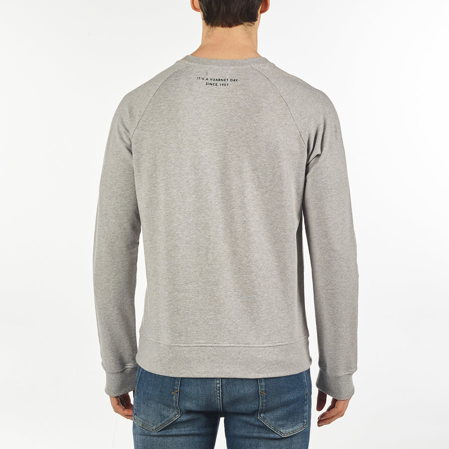 MEN'S SWEAT CREW NECK VUARNET, 081 LT HTR GREY XXL  MENS