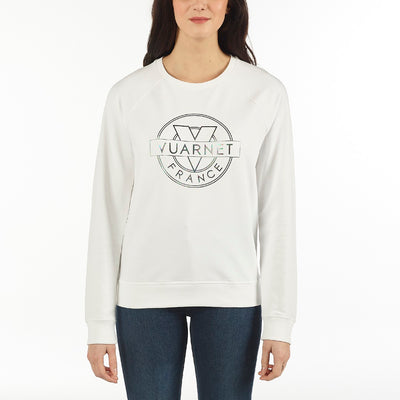 WOMEN'S SWEAT CREW NECK VUARNET, 101 WHITE XS  WOMENS