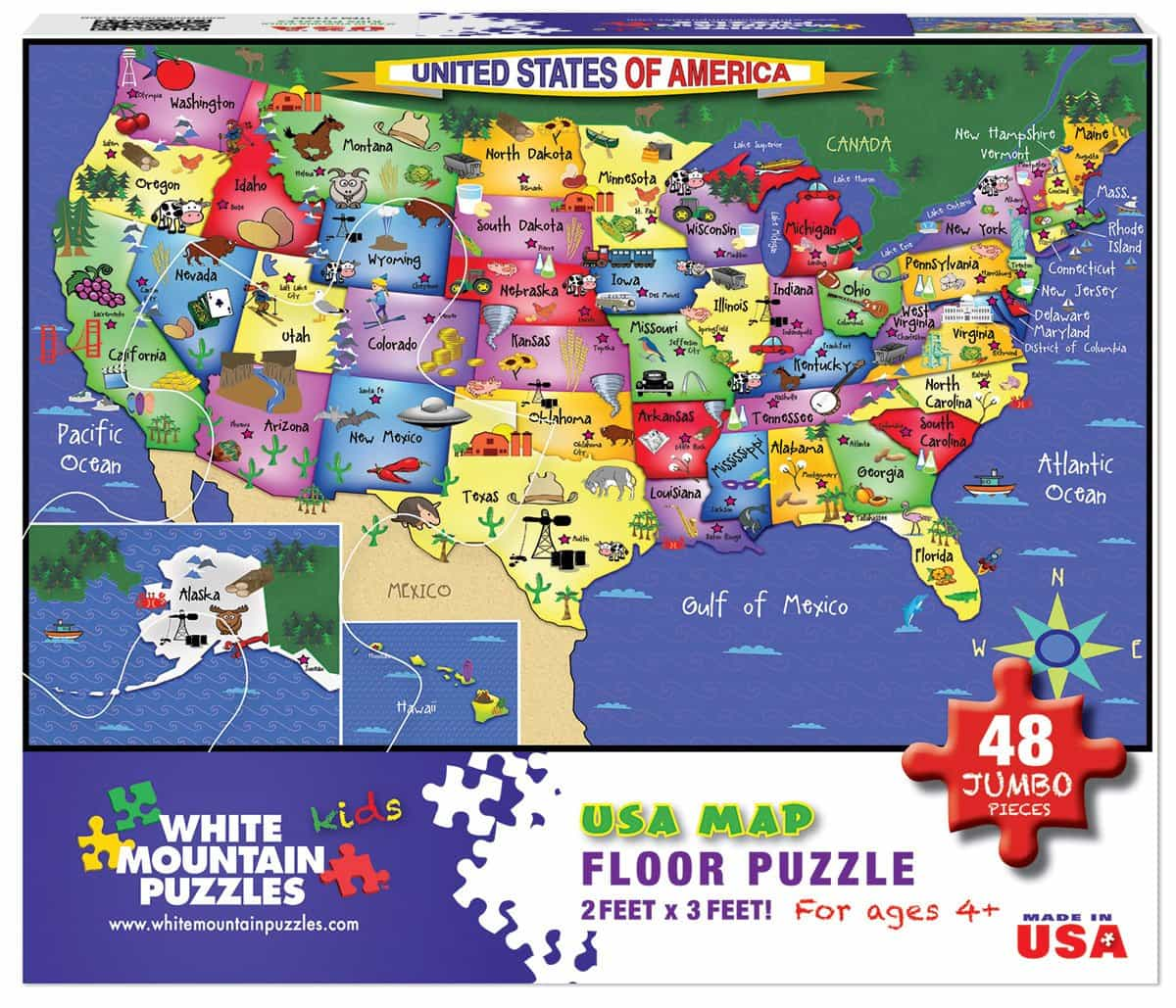 U S Map Floor Puzzle 48 Piece Jigsaw Puzzle White Mountain Puzzles - Puzzle-us-map