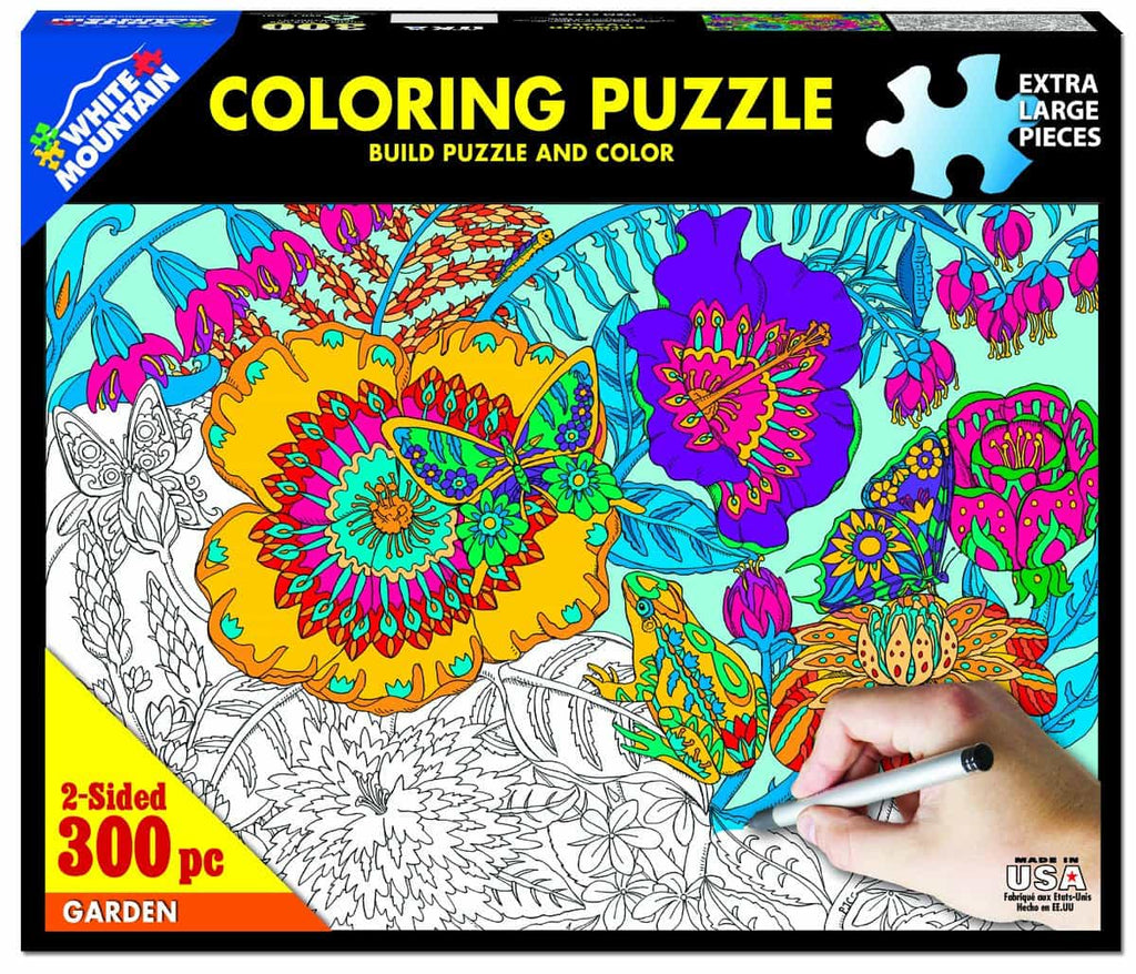 Garden Coloring Puzzle - 300 Piece Coloring Jigsaw Puzzle