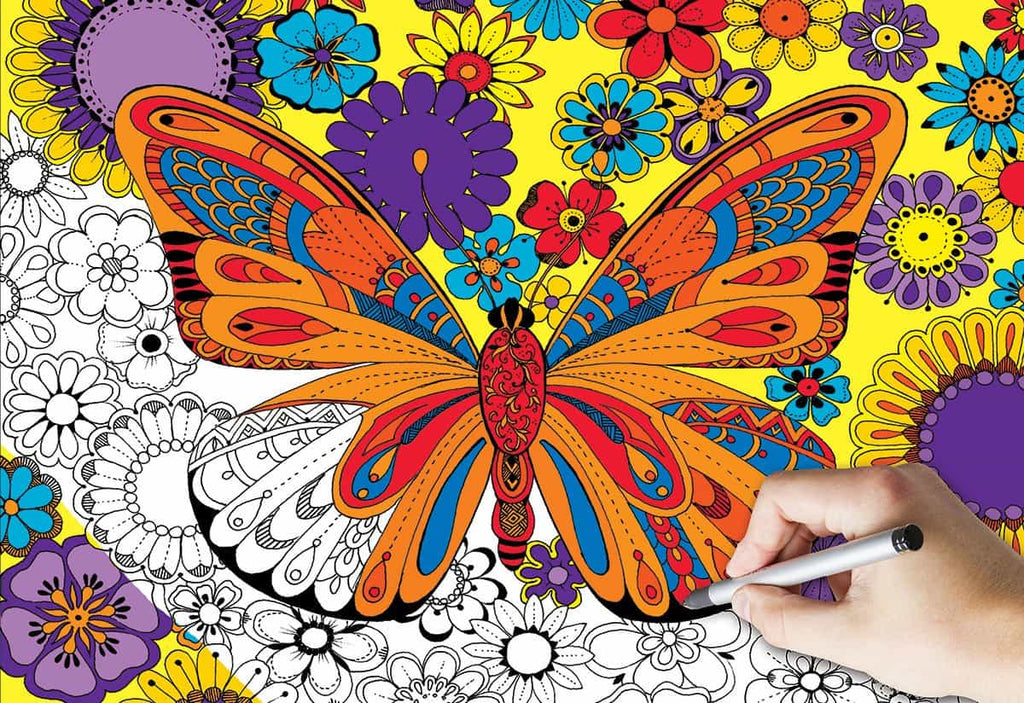 June Butterfly Coloring Puzzle - 300 Piece Coloring Jigsaw Puzzle