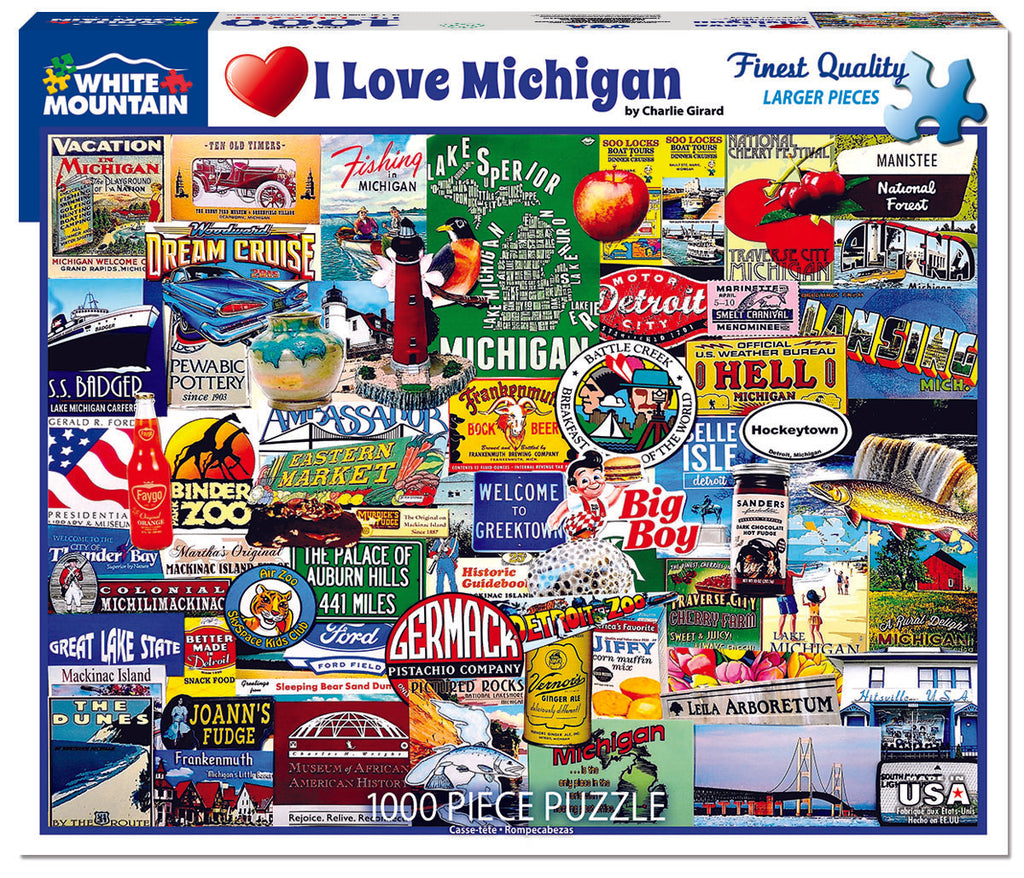 I Love Michigan (1221pz) - 1000 Piece Jigsaw Puzzle