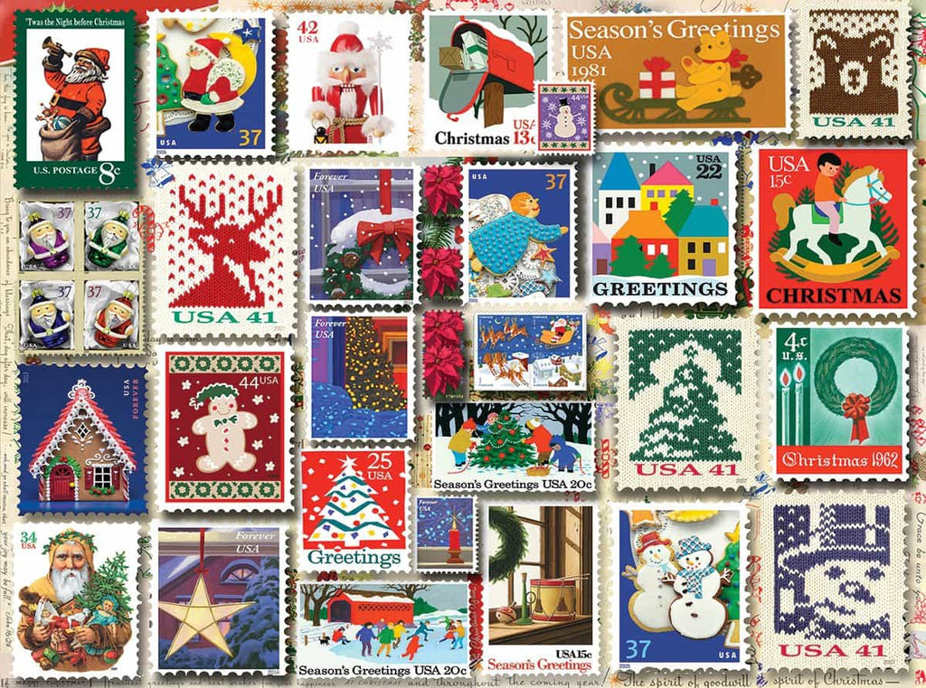 Christmas Stamps (1262pz) - 1000 Piece Jigsaw Puzzle