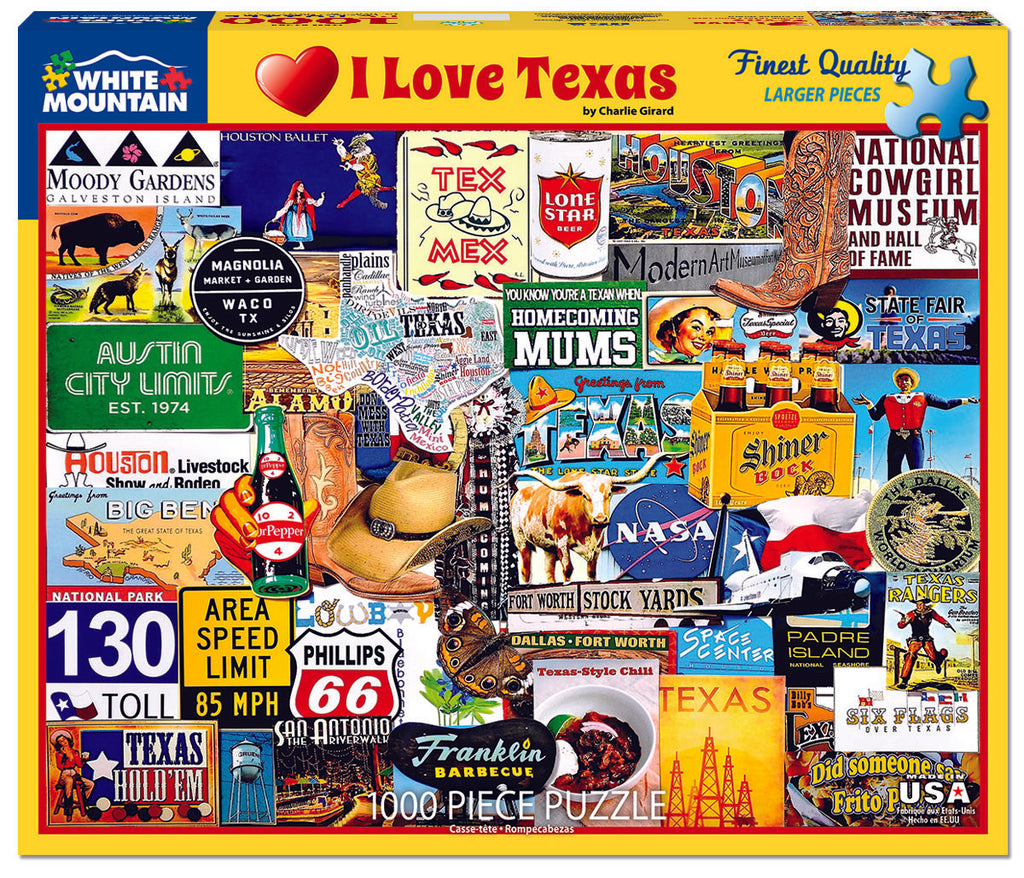 I Love Texas (1284pz) - 1000 Piece Jigsaw  Puzzle
