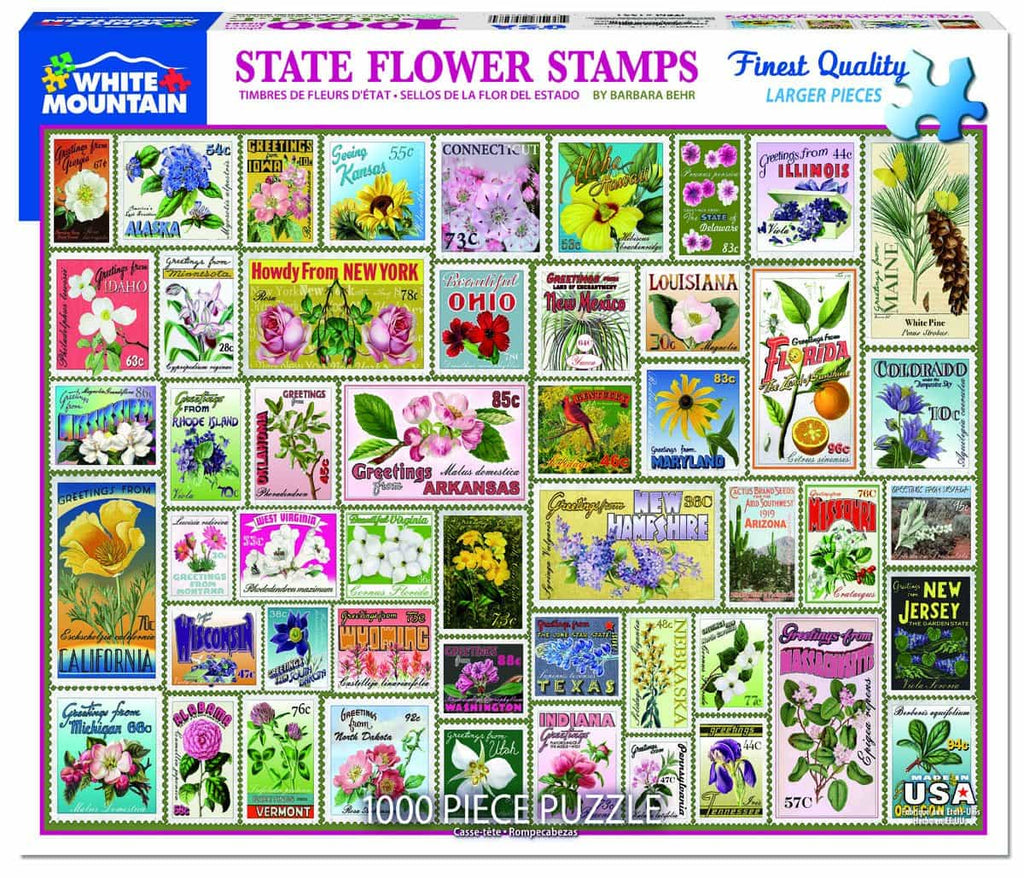 State Flower Stamps (1331pz) - 1000 Piece Jigsaw Puzzle