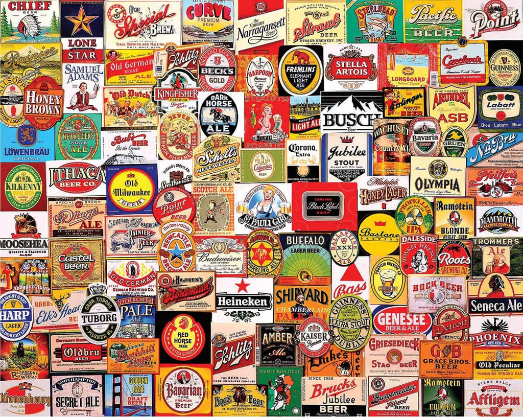 Beer Labels (1344pz) - 1000 Piece Jigsaw Puzzle