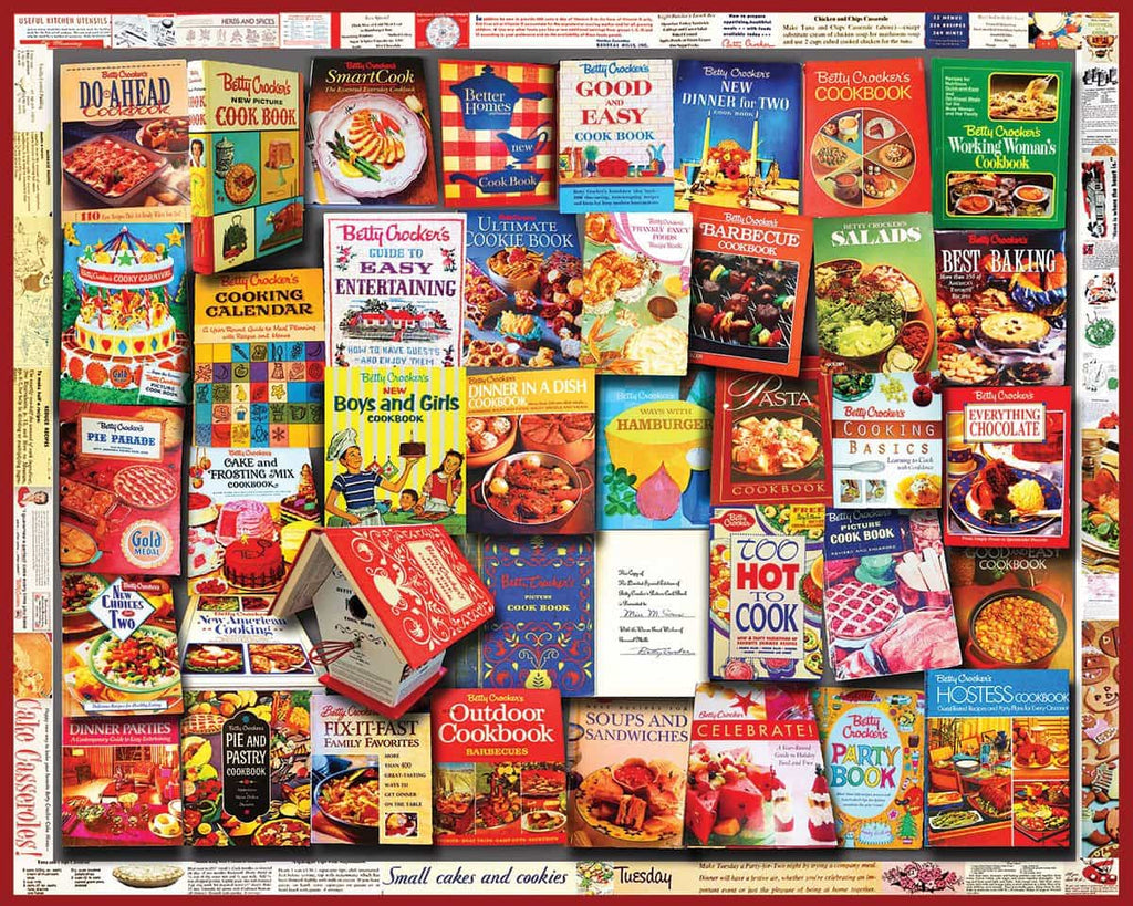 Betty Crocker Cookbooks (1358pz) - 1000 Piece Jigsaw Puzzle for Adults