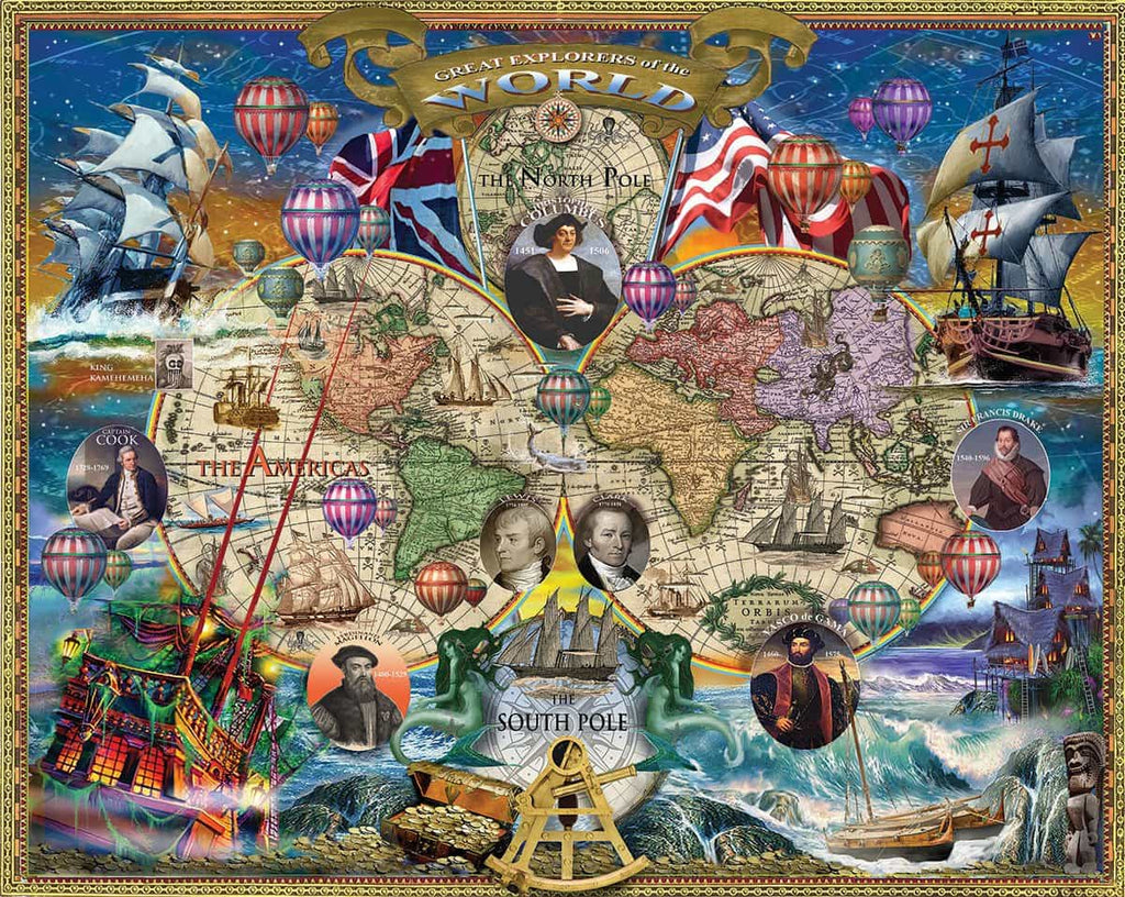 Great Explorers World Map (1366pz) - 1000 Piece Jigsaw Puzzle