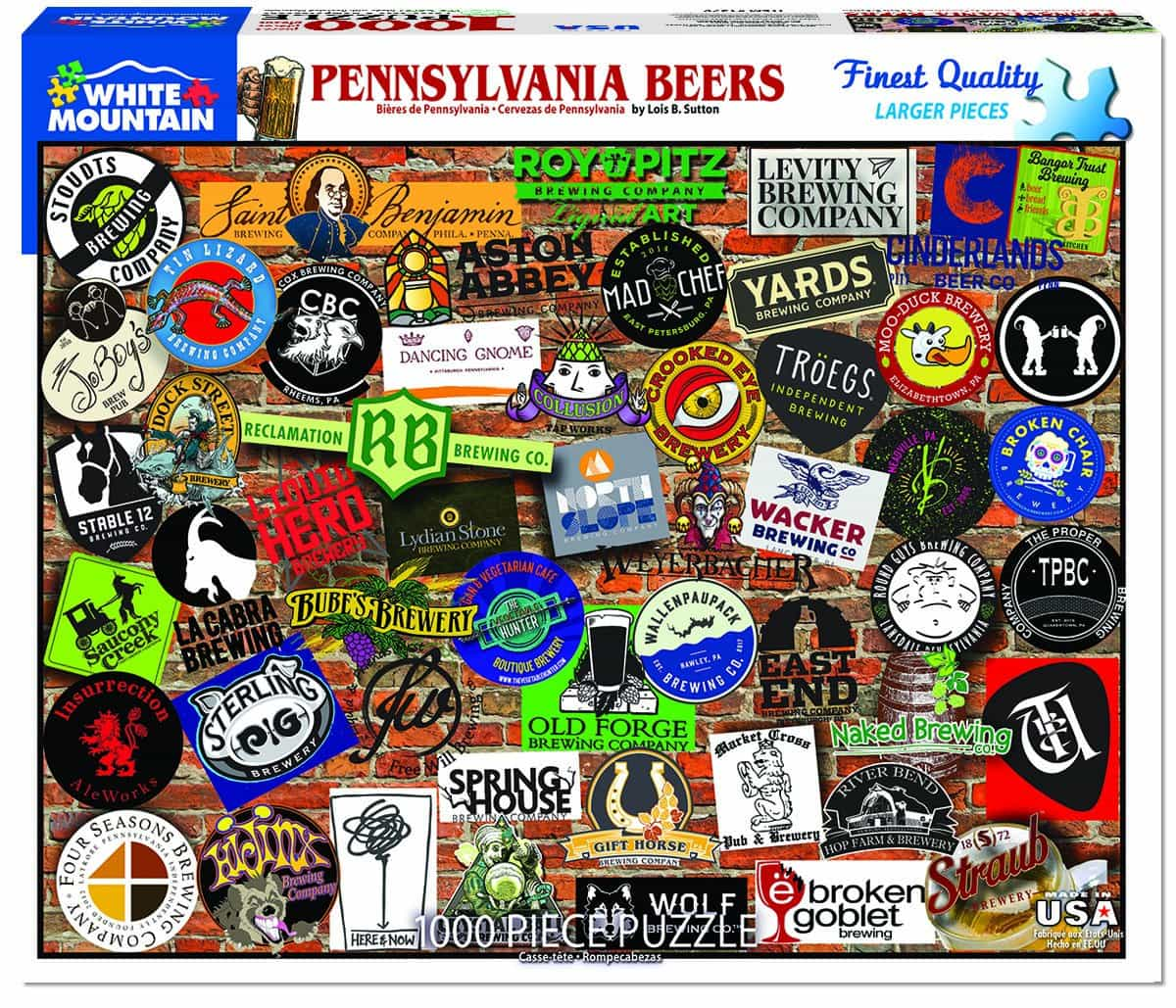 WHITE MOUNTAIN Lois Sutton New York Craft Beer Collage 1000 Pc Jigsaw Puzzle