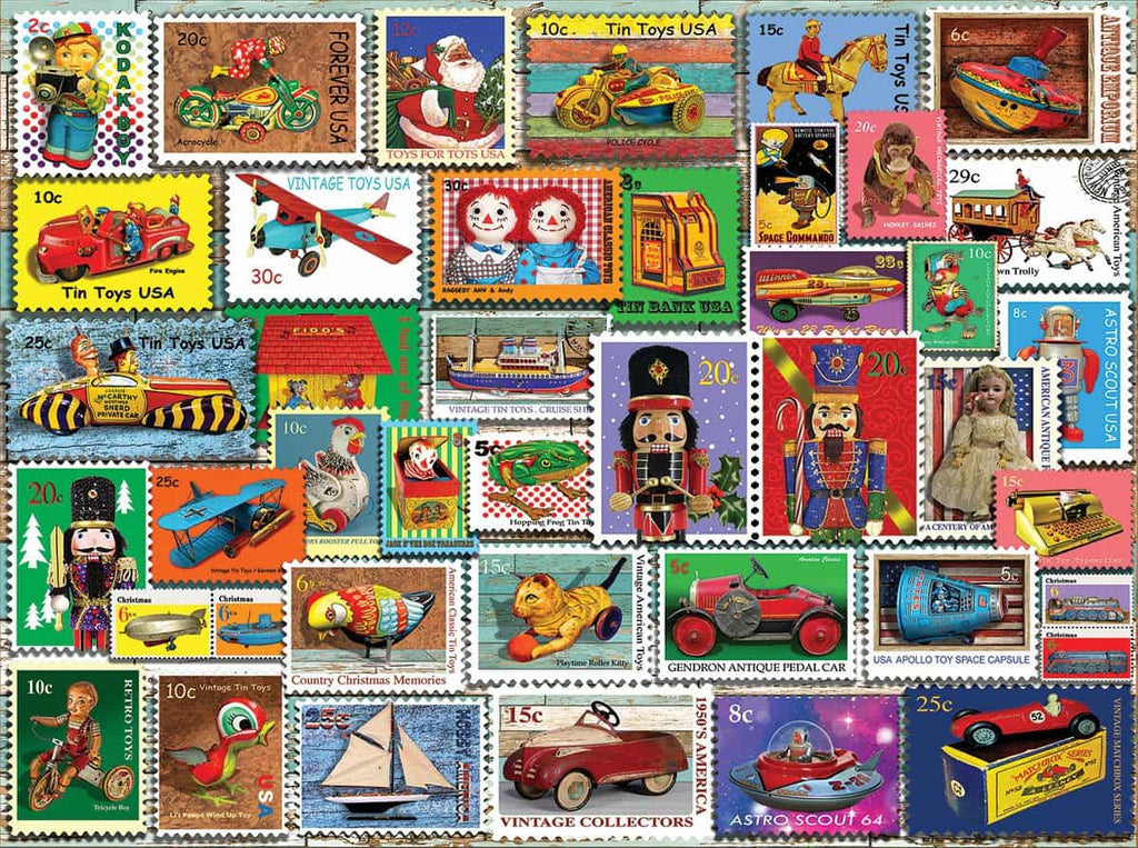 Christmas Toy Stamps (1403pz) - 1000 Piece Jigsaw Puzzle