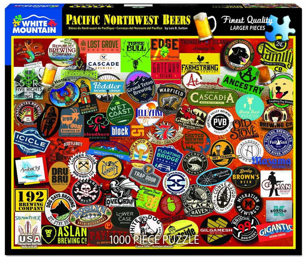 Pacific Northwest Beers (1407pz) - 1000 Piece Jigsaw Puzzle