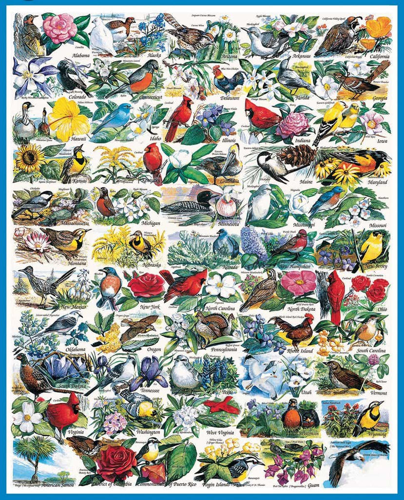 State Birds & Flowers (140PZ)- 1000 Piece Jigsaw Puzzle