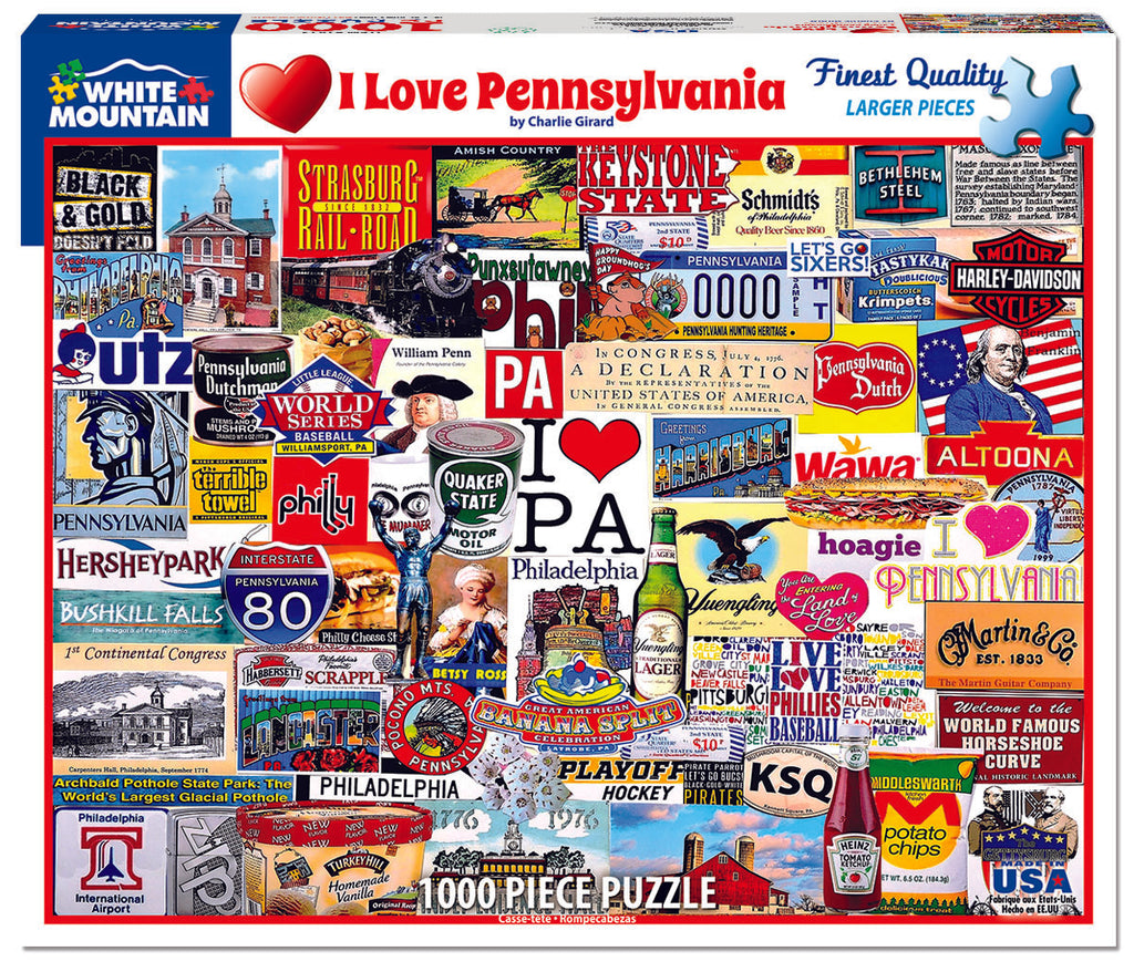 I Love Pennsylvania (1413pz) - 1000 Piece Jigsaw Puzzle