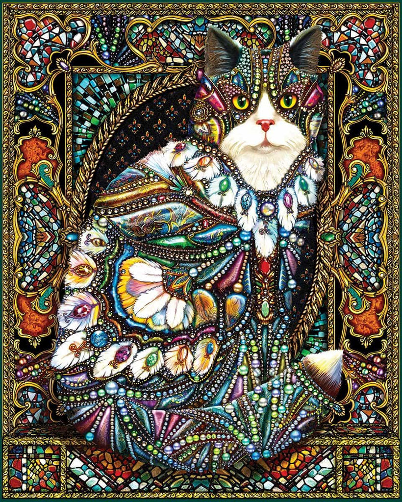 Jeweled Cat (1446pz) - 1000 Piece Jigsaw Puzzle