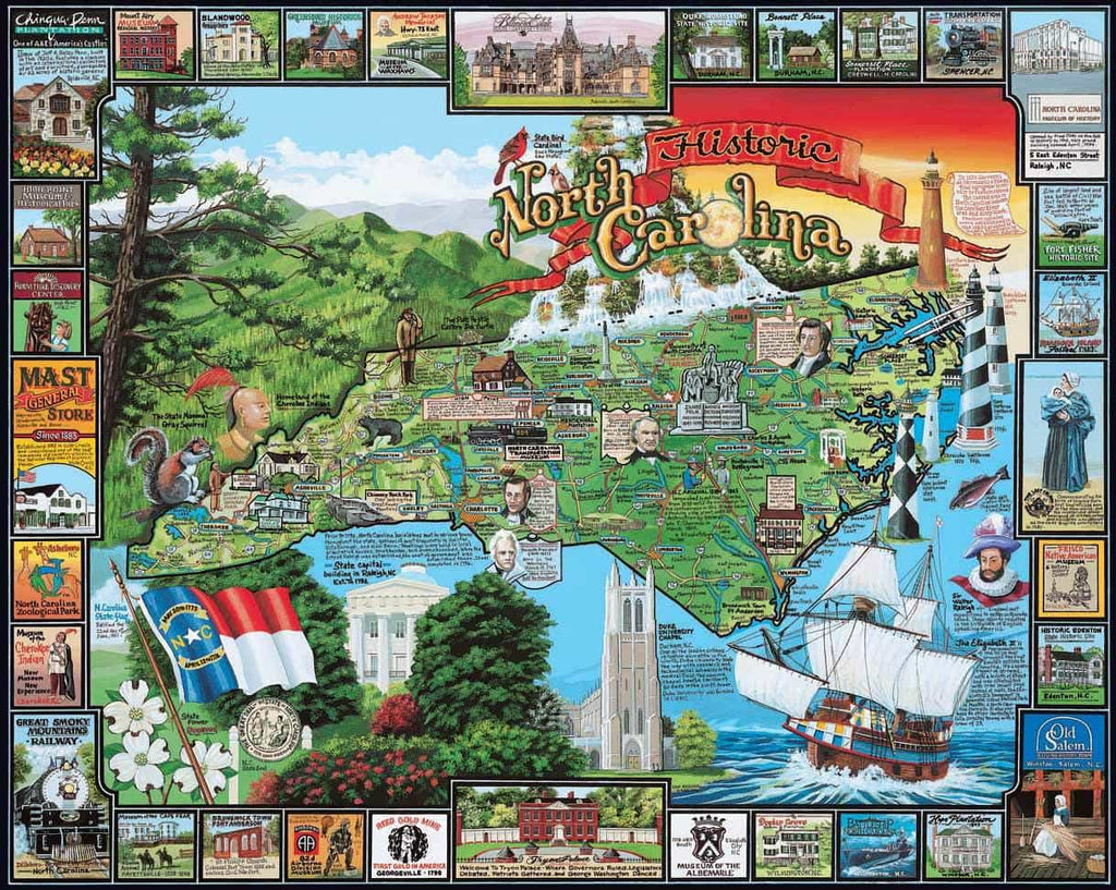 Historic North  Carolina (145PZ) - 1000 Piece Jigsaw Puzzle