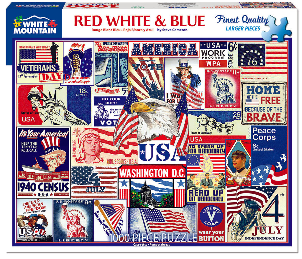Red, White & Blue (1565pz) - 1000 Piece Jigsaw Puzzle