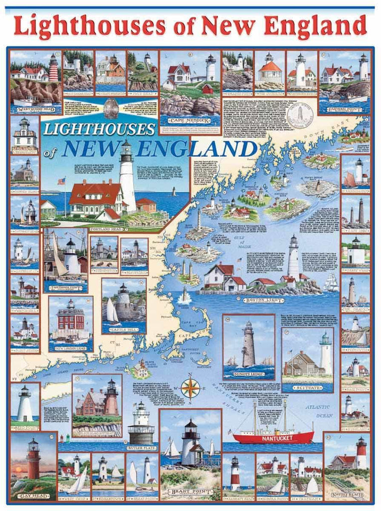 New England Lighthouses (481PZ) - 1000 Piece Jigsaw Puzzle