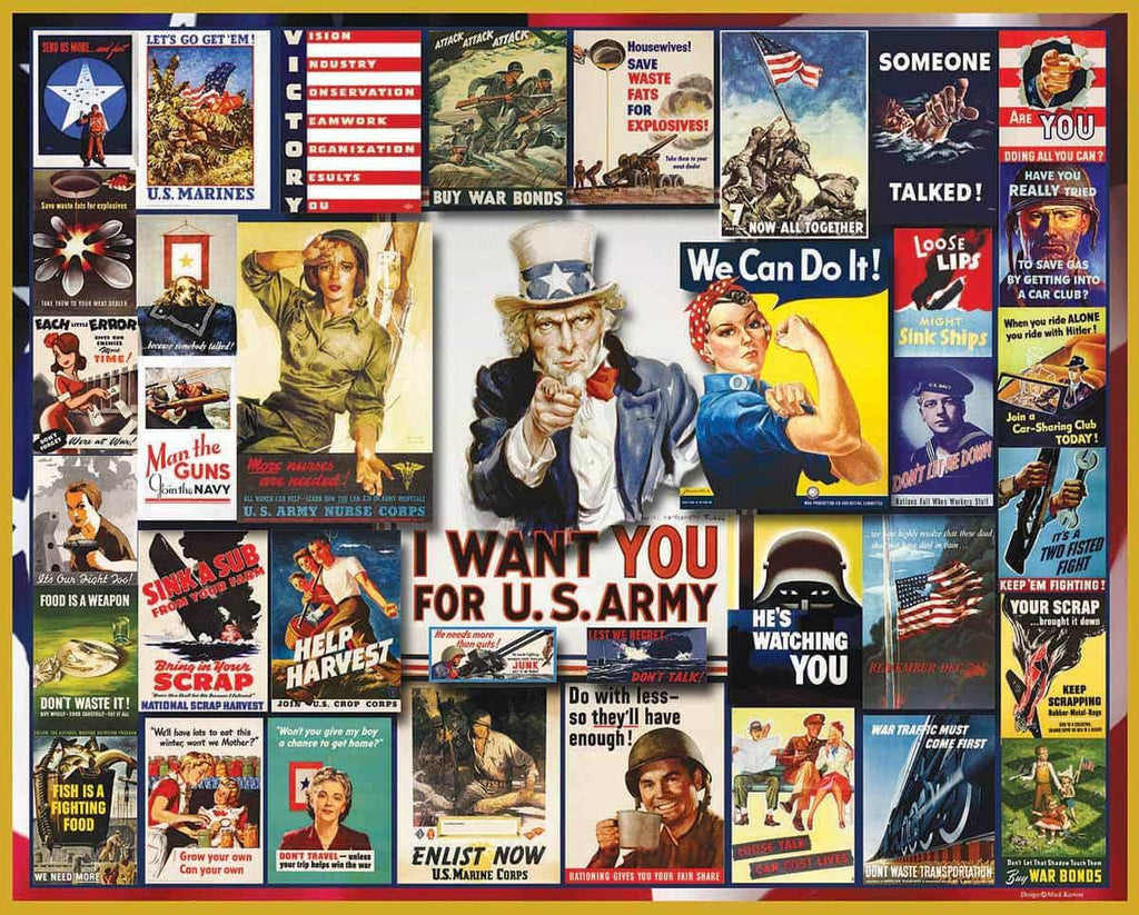 WWII Poster Collage (864PZ) - 1000 Piece Jigsaw Puzzle