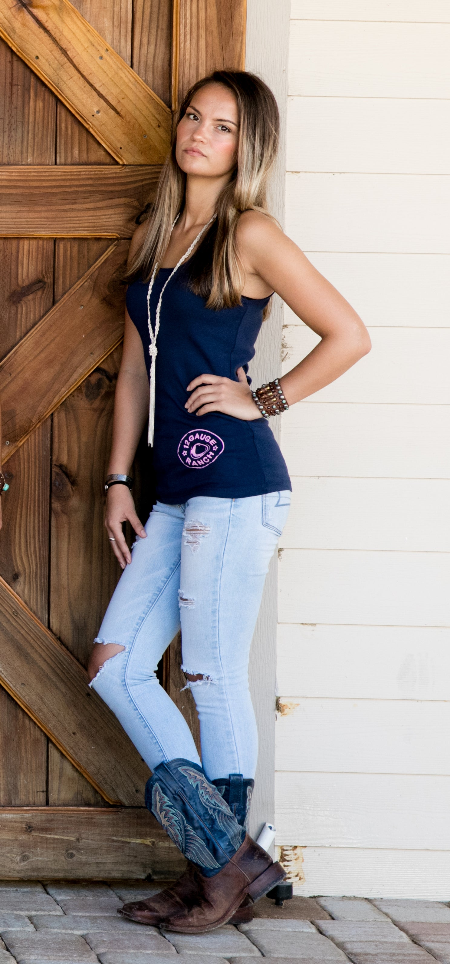 12 Gauge Ranch Women's Navy Tank Top With Pink Logo (TKWNY102), Accessories, 12 Gauge Ranch, 12 Gauge Ranch Ranch  12 Gauge Ranch